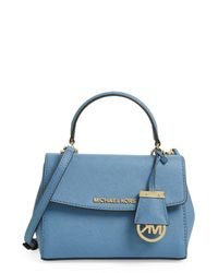 3d59625fc349a Lyst - MICHAEL Michael Kors Extra Small Ava Leather Crossbody in Blue