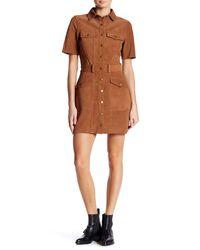 Current/Elliott - Brown The Trucker Genuine Calf Leather Shirt Dress - Lyst
