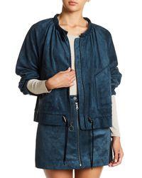 BCBGMAXAZRIA | Blue Faux Suede Raglan Sleeve Jacket | Lyst