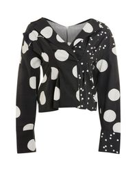 TOPSHOP - Black Mix Match Polka Dot Blouse - Lyst