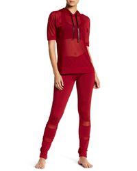 Electric Yoga   Red Slimming Waist Mesh Trim Legging   Lyst