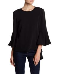Philosophy Apparel - Black Ruffle Asymmetrical Sleeve Blouse - Lyst