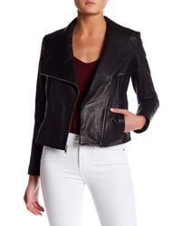 Cole Haan | Black Asymmetrical Genuine Leather Jacket | Lyst