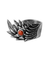 King Baby Studio - Metallic Raven Wing Coral Cabochon Ring for Men - Lyst
