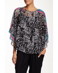 Miraclebody - Black Engineered Floral Box Blouse - Lyst