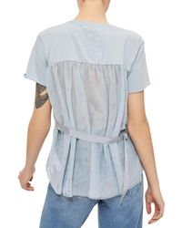 TOPSHOP - Blue Tulle Back Tee - Lyst