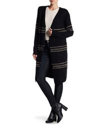 Dex Black Open Front Maxi Knit Cardigan