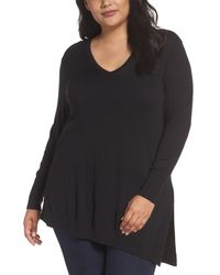 Sejour - Black V-neck Asymmetrical Tunic - Lyst