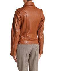 MICHAEL Michael Kors - Brown Asymmetrical Leather Moto Jacket - Lyst