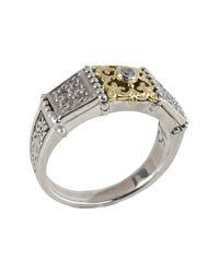 Konstantino - Metallic Sterling Silver & 18k Gold Bezel Diamond Ring - Size 7 - Lyst