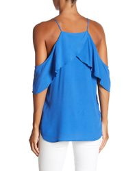 Fifteen Twenty - Blue Cold Shoulder Ruffle Blouse - Lyst