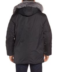 Andrew Marc - Black Shell Jacket With Genuine Fox Fur Trim for Men - Lyst