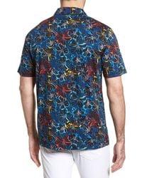 Bugatchi - Blue Classic Fit Floral Digital Print Polo for Men - Lyst