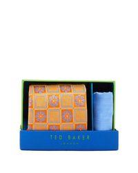 Ted Baker - Metallic Janie Botanical Silk Tie & Pocket Square Set for Men - Lyst