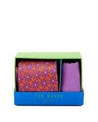 Ted Baker - Multicolor Gemma Botanical Silk Tie & Handkerchief for Men - Lyst