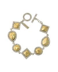 1928 - Metallic Two-tone Geometric Shape Bracelet - Lyst