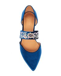 Bettye By Bettye Muller - Blue Jamisen Embroidered Velvet Flat - Lyst