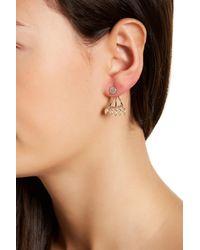Joe Fresh - Multicolor Pave & Bezel Set Cz Detail Earrings - Lyst