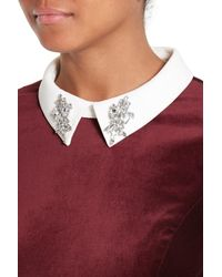 Ted Baker - Red Cheryll Embellished Collar Velvet Dress - Lyst