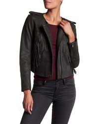 Joie - Black Zeno Cropped Leather Jacket With Fringe - Lyst