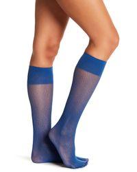 Wolford - Blue Comfort Decor Knee-high Socks - Lyst
