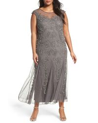 6c1e07cf20d Pisarro Nights. Women s Gray Illusion Neck Beaded A-line Gown (plus Size)