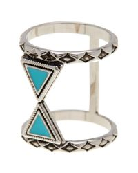 Ariella Collection - Metallic Double Triangle Ring - Lyst