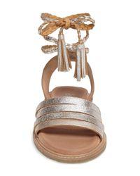 Seychelles - Metallic Botanical Tassel Leather Wraparound Sandal - Lyst