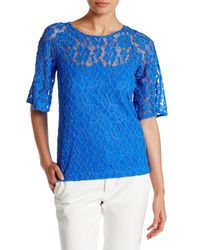 Grayse   Blue Floral Lace Sequin Tee   Lyst