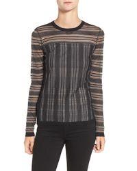 Bailey 44 | Black Two Way Street Stripe Sheer Yoke Sweater | Lyst