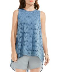 Vince Camuto - Blue High/low Herringbone Lace Blouse - Lyst