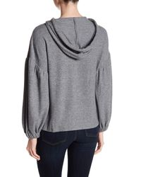 1.STATE - Gray Bishop Sleeve Hooded Sweatshirt - Lyst