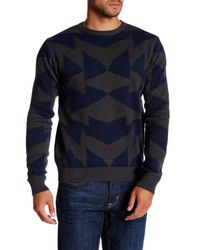 Saturdays NYC - Blue Mirror Jacquard Pullover for Men - Lyst
