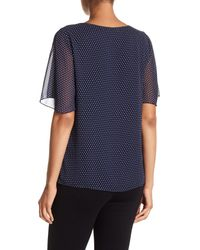 Pleione - Blue Double Layer Flutter Sleeve Top - Lyst