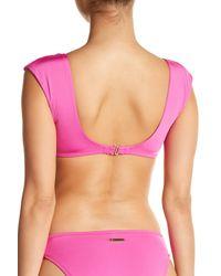 Trina Turk Pink Front Knot Bikini Top