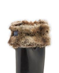 Joules - Multicolor Frida Faux Fur Trim Rain Boot Sock - Lyst