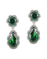 CZ by Kenneth Jay Lane - Green Cz Pear Shaped Dangle Earrings - Lyst