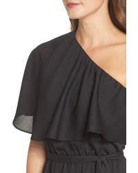 Charles Henry - Black One-shoulder Asymmetrical Dress (regular & Petite) - Lyst