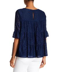 Pleione - Blue Tiered Stretch Lace Blouse - Lyst