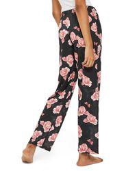 TOPSHOP - Black Rose Pajama Pants - Lyst