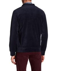 Perry Ellis | Blue Long Sleeve Velour Button Down Sweater for Men | Lyst