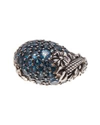 Stephen Dweck - Multicolor Sterling Silver Pave Blue Topaz Floral Dome Ring - Size 7 - Lyst