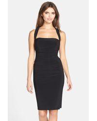 Laundry by Shelli Segal - Black Twist Back Jersey Bodycon Dress - Lyst