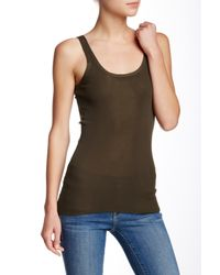 INHABIT - Green Solid Tank - Lyst