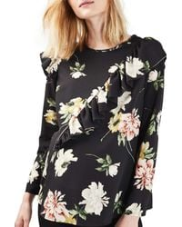 TOPSHOP | Black Floral Ruffle Maternity Top | Lyst