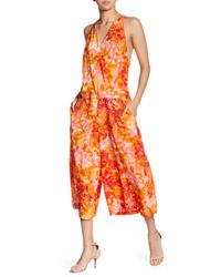 Tracy Reese - Orange Floral Print Crop Silk Jumpsuit - Lyst