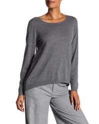 Eileen Fisher | Gray Jewel Neck Oversized Sweater | Lyst