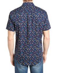 Original Penguin - Blue Short Sleeve Mini Palm Print Lawn Sport Shirt for Men - Lyst