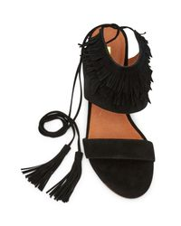 Matiko - Black Bekka Leather Fringe Wedge Sandal - Lyst