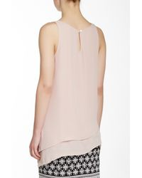 Max Studio - Pink Asymmetrical Layered Tank - Lyst